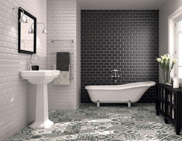 Réalisation carrelage Metro salle de bain gris joint blanc