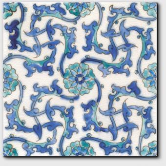 Carrelage peint main Doremail NOSTALGIA - motif ADALIA - carreau méditerranéen 20x20xm