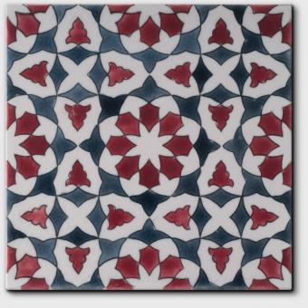 Carrelage peint main Doremail NOSTALGIA - motif CHLOE AUTUMN - carreau méditerranéen 20x20xm