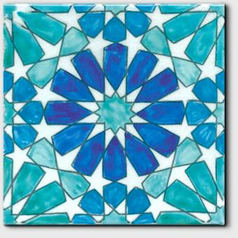 390_3Carrelage peint main Doremail NOSTALGIA - motif MARBELLA BLEU - carreau méditerranéen 20x20xm