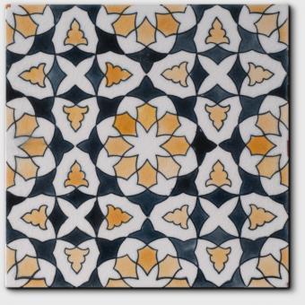 Carrelage peint main Doremail NOSTALGIA - motif CHLOE SPRING - carreau méditerranéen 20x20xm