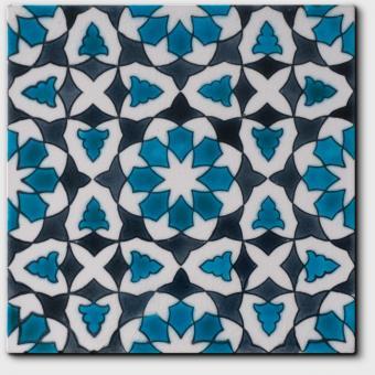 Carrelage peint main Doremail NOSTALGIA - motif CHLOE SUMMER - carreau méditerranéen 20x20xm