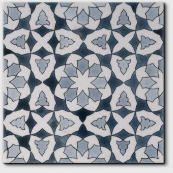 Carrelage peint main Doremail NOSTALGIA - motif CHLOE WINTER - carreau méditerranéen 20x20xm