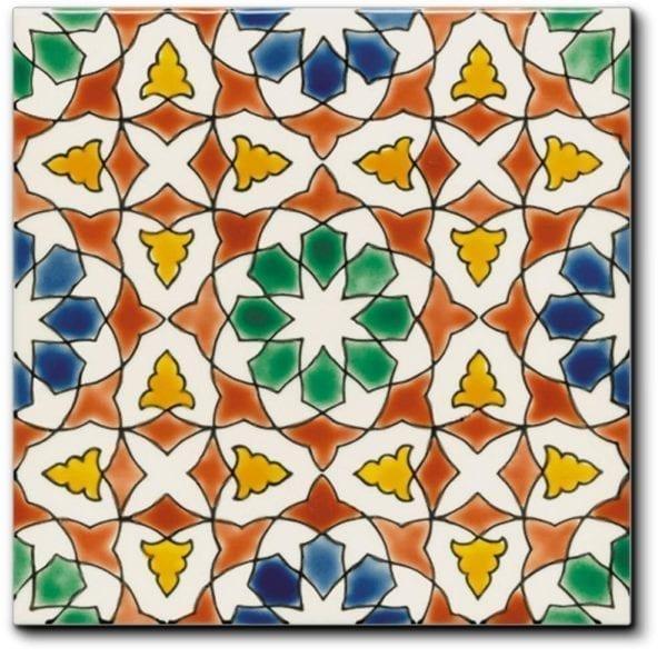 Carrelage andalou peint main Doremail - motif AZZAHRA AUTOMNE