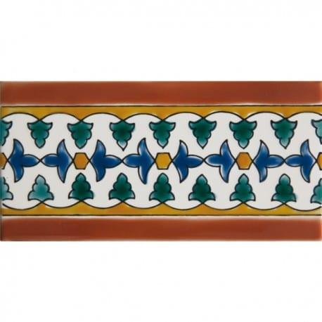 Carrelage andalou peint main DOREMAIL - Frise AZZAHRA AUTOMNE