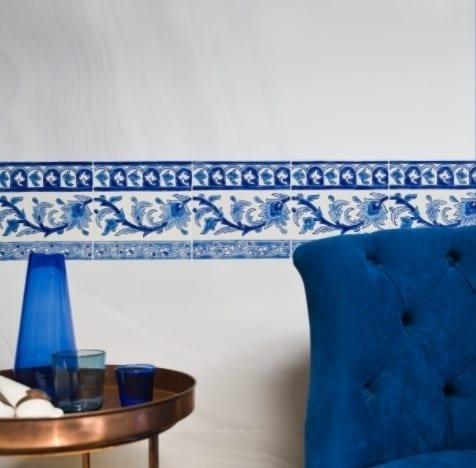 Carrelage méditerranéen peint main DOREMAIL - motif Frise KINZ BLEU