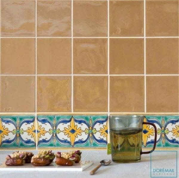 Carrelage peint main Doremail - Frise Constantine - carreau méditerannéen / tunisien