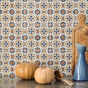 Carrelage peint main DOREMAIL - motif MAYA AUTOMNE - carreau méditerranéen