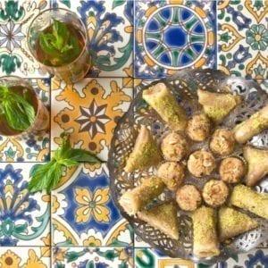 Carrelage méditerranéen peint main DOREMAIL - exemple de réalisation incl. NORIA & BORGINE