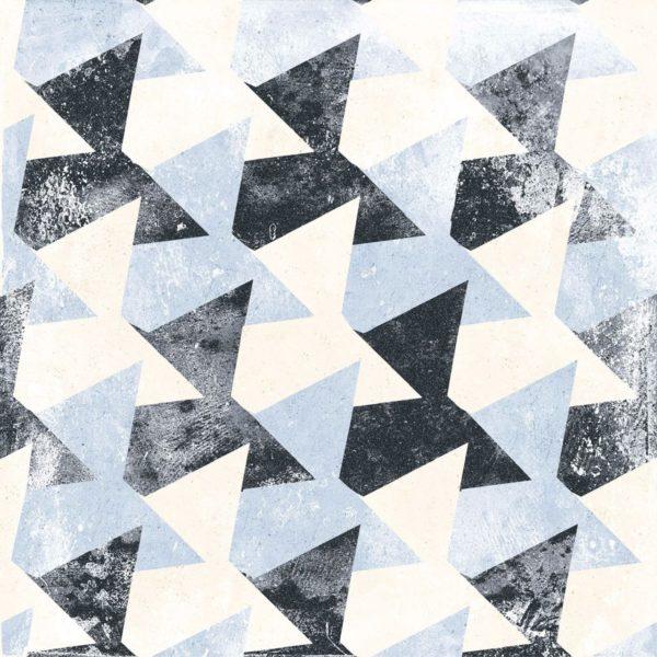 Carrelage sol imitation carreaux de ciment - patchwork Codicer PERSEO Mix - Gris bleu Noir Blanc