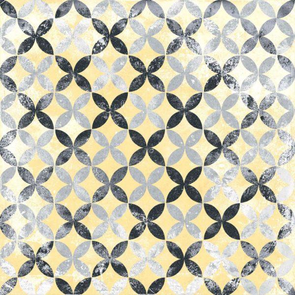 Carrelage sol imitation carreaux de ciment - patchwork Codicer PERSEO Mix - Gris Noir Jaune