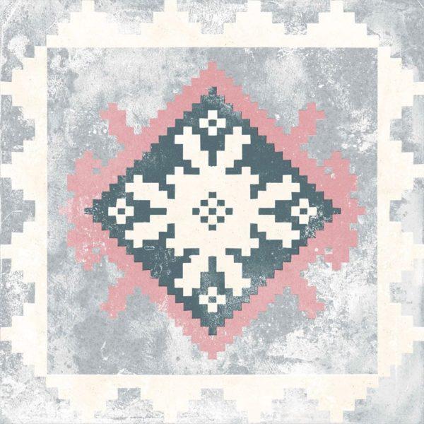Carrelage sol imitation carreaux de ciment - patchwork Codicer PERSEO Mix - Gris Noir Blanc Rose