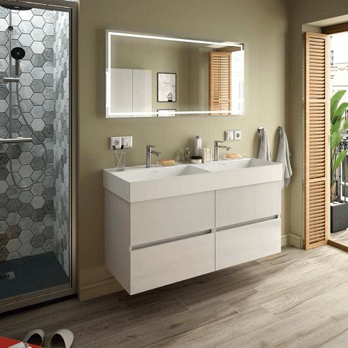 Salgar FUSSION LINE - Meuble de salle de bain 2x60cm - BLANC BRILLANT