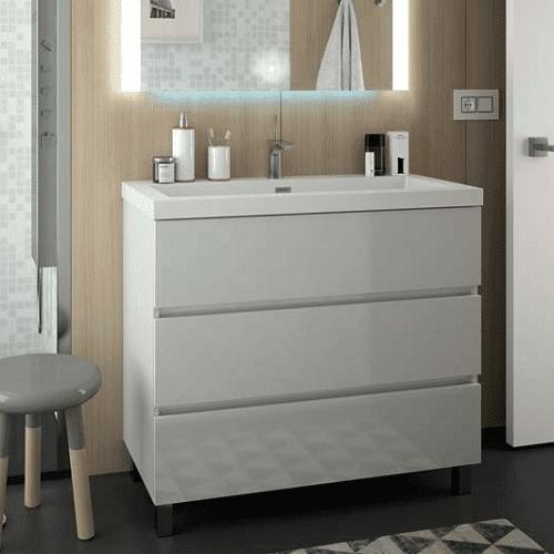 Salgar FUSSION LINE - Meuble de salle de bain 100cm 3 tiroirs - BLANC BRILLANT