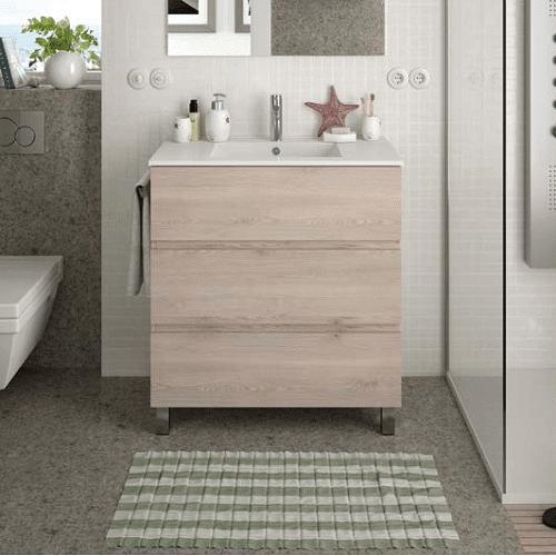 Salgar FUSSION LINE - Meuble salle de bain 80cm 3 tiroirs - CHENE NATUREL