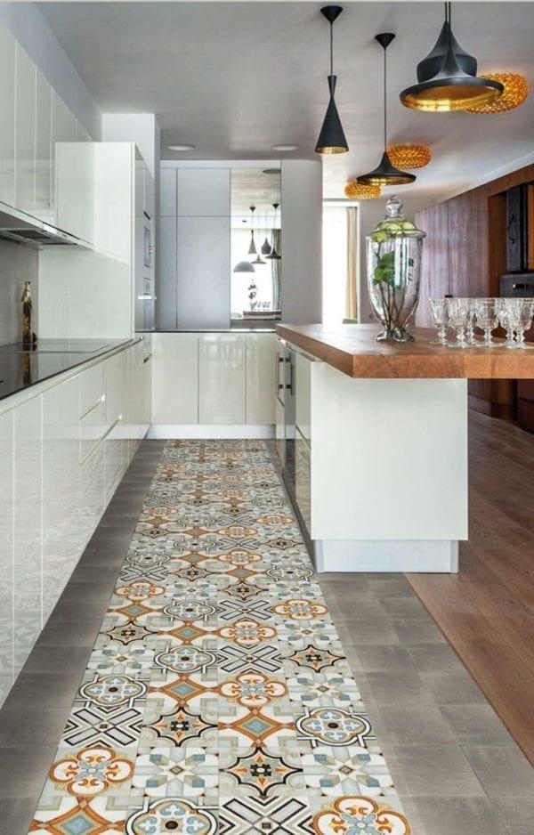 Carreaux de ciment cuisine - Nanda Cementum - motifs NATURE & uni avec parquet