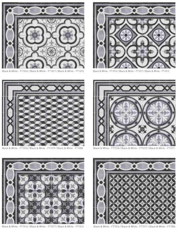 Composition carreaux de ciment noir et blanc - Nanda Cementum - série BLACK & WHITE