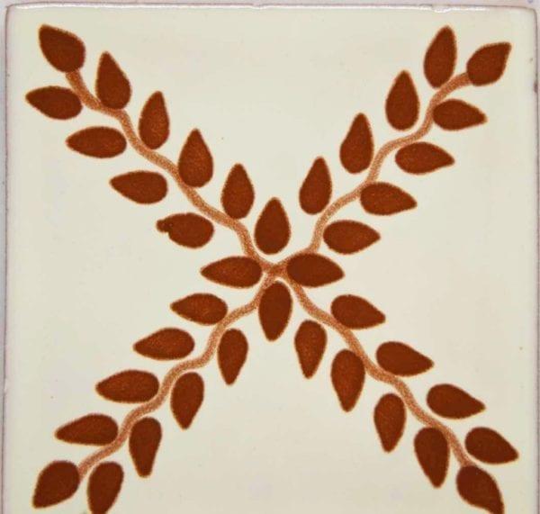 Carrelage mexicain Colibri Azulejos - ARBOR CHAMOIS / BLANC