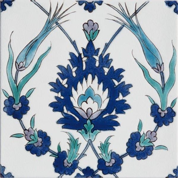 Carrelage peint main Doremail NOSTALGIA - motif PINAR - carreau méditerranéen 20x20xm