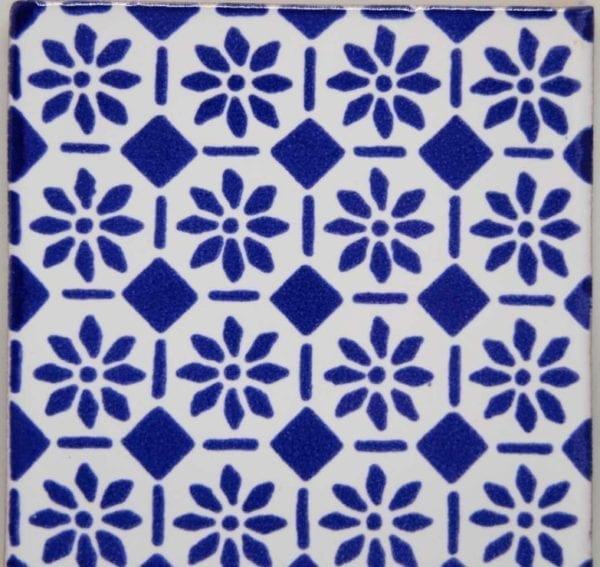 Carrelage mexicain Colibri Azulejos - DAMAROS BLEU / BLANC PUR
