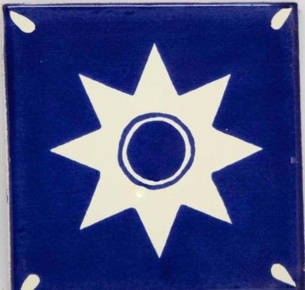 Carrelage mexicain Colibri Azulejos - ESTRELLA BLANC / BLEU