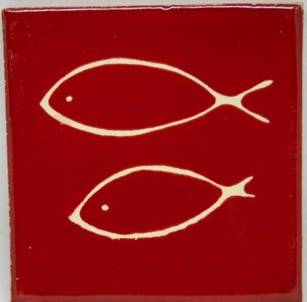 Carrelage mexicain Colibri Azulejos - FISH BLANC / ROUGE