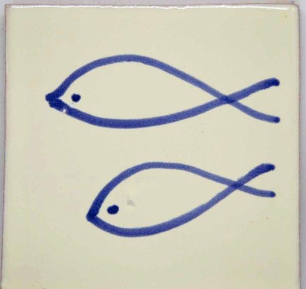 Carrelage mexicain Colibri Azulejos - FISH BLEU / BLANC