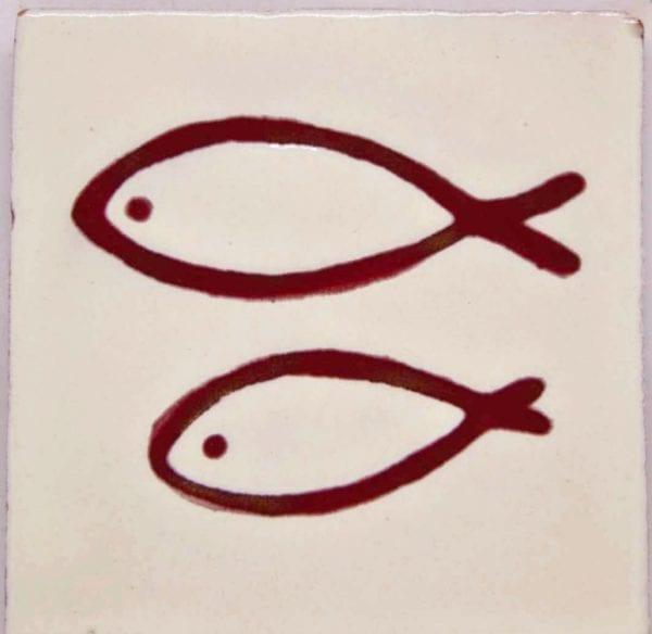 Carrelage mexicain Colibri Azulejos - FISH ROUGE / BLANC