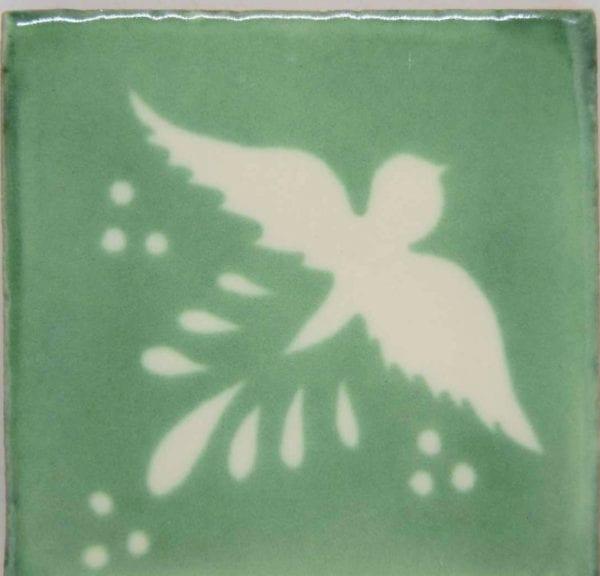Carrelage mexicain Colibri Azulejos - FLIGHT BLANC / VERT