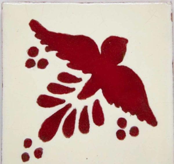 Carrelage mexicain Colibri Azulejos - FLIGHT ROUGE / BLANC