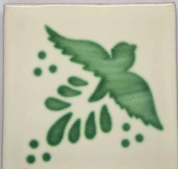 Carrelage mexicain Colibri Azulejos - FLIGHT VERT / BLANC