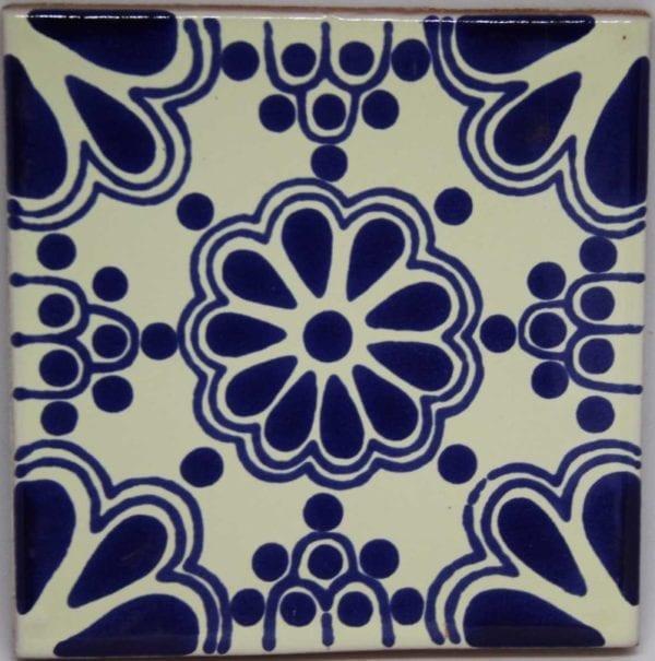 Carrelage mexicain Colibri Azulejos - LACE BLEU / BLANC