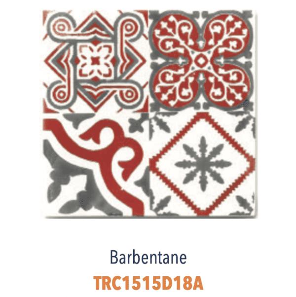 Modèle Barbentane Rouge/Blanc - Carreaux de faïence de Salernes sérigraphiés main - Diffusion Céramique Terracim VIE DE CHATEAU