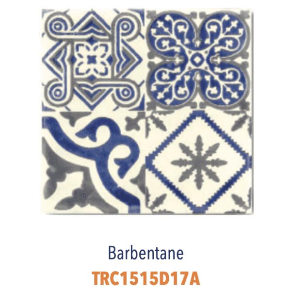 Modèle Barbentane Bleu/Ivoire - Carreaux de faïence de Salernes sérigraphiés main - Diffusion Céramique Terracim VIE DE CHATEAU