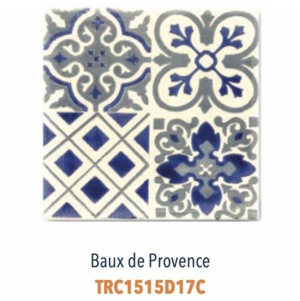 Modèle Baux de Provence Bleu/Ivoire - Carreaux de faïence de Salernes sérigraphiés main - Diffusion Céramique Terracim VIE DE CHATEAU