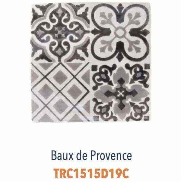 Modèle Baux de Provence Gris - Carreaux de faïence de Salernes sérigraphiés main - Diffusion Céramique Terracim VIE DE CHATEAU