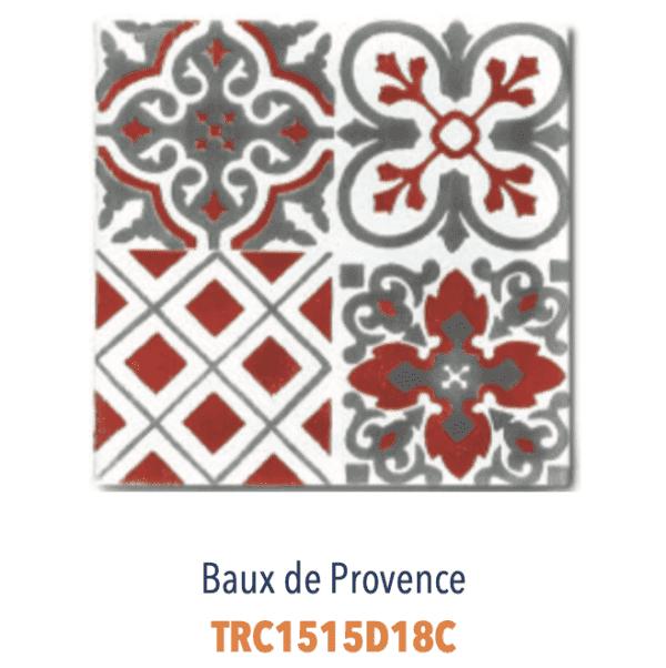 Modèle Baux de Provence Rouge/Blanc - Carreaux de faïence de Salernes sérigraphiés main - Diffusion Céramique Terracim VIE DE CHATEAU