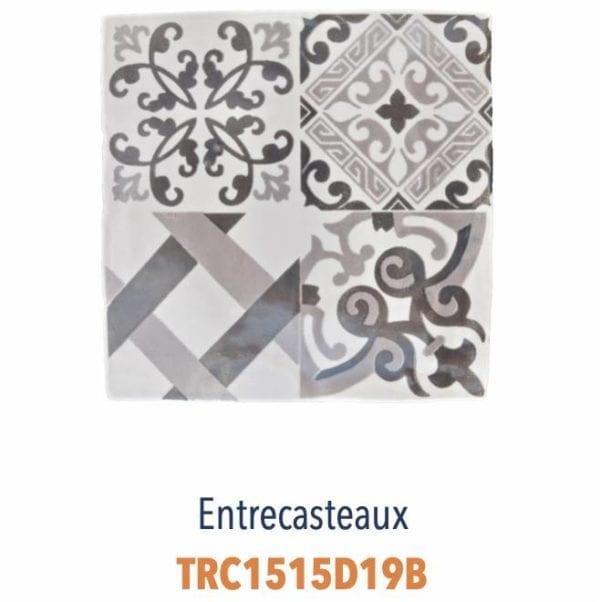 Modèle Entrecasteaux Gris - Carreaux de faïence de Salernes sérigraphiés main - Diffusion Céramique Terracim VIE DE CHATEAU