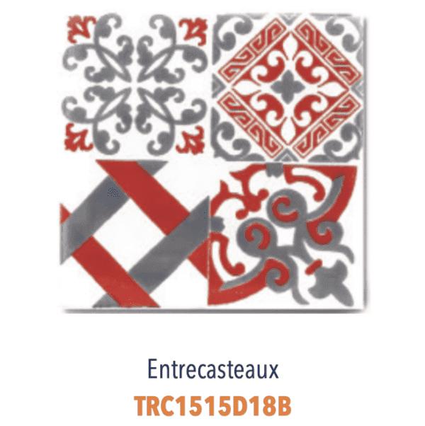 Modèle Entrecasteaux Rouge/Blanc - Carreaux de faïence de Salernes sérigraphiés main - Diffusion Céramique Terracim VIE DE CHATEAU