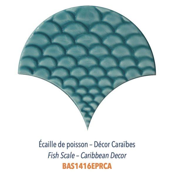 Diffusion Céramique - Carrelage bleu ECAILLES DE POISSON - DECOR CARAIBES