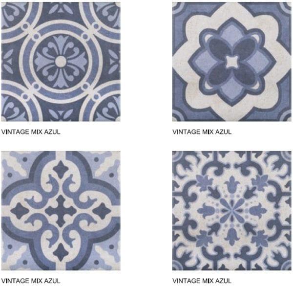 Carreaux imitation ciment Codicer Vintage - ex. motifs MIX AZUL
