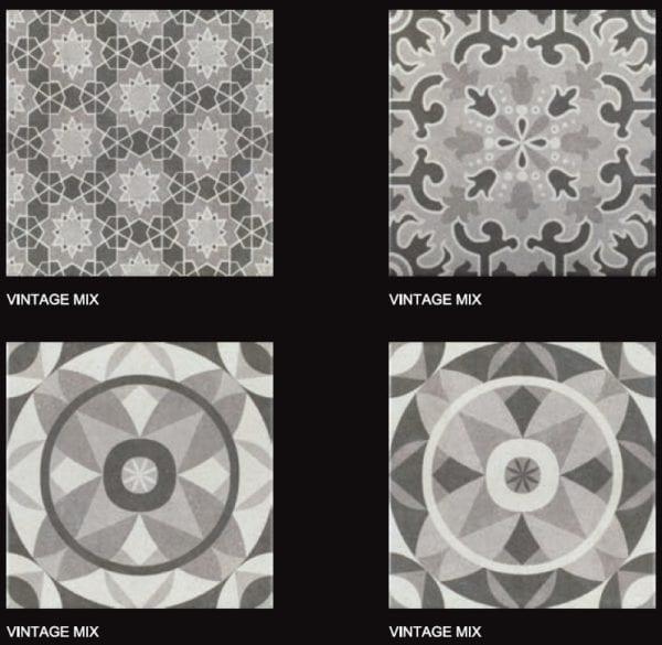 Carreaux imitation ciment Codicer Vintage - ex. motifs MIX GREY