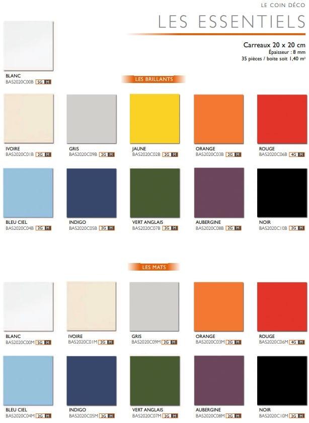 Carrelage couleur brillant ou mat Diffusion Céramique Coin Déco - LES ESSENTIELS