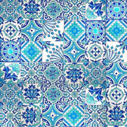 Carrelage DOREMAIL Patchwork LES TUNISIENNES Vert Eau - Carreaux artisanaux de faïence peints à la main