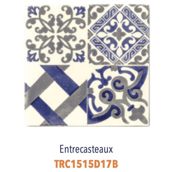 Modèle Entrecasteaux Bleu/Ivoire - Carreaux de faïence de Salernes sérigraphiés main - Diffusion Céramique Terracim VIE DE CHATEAU