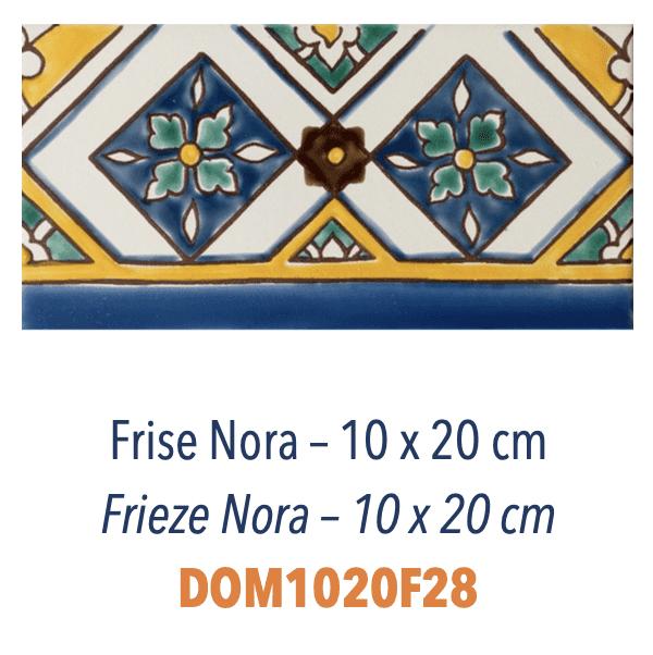 Carrelage méditerranéen Doremail - FRISE NORA 10x20cm