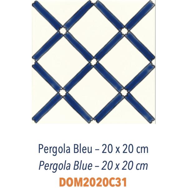 Carrelage méditerranéen Doremail - PERGOLA BLEU 20x20cm