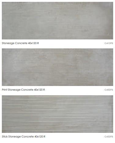 Carrelage imitation ciment Keratile STONEAGE - CONCRETE - Nous contacter pour format 40x120 et motifs PRINT et STICK