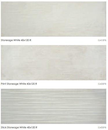 Carrelage imitation ciment Keratile STONEAGE - WHITE - Nous contacter pour format 40x120 et motifs PRINT et STICK