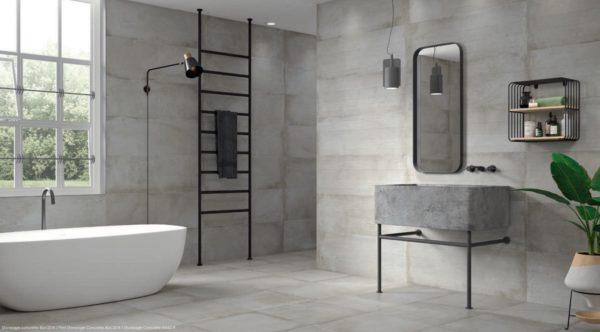 Carrelage imitation ciment Keratile STONEAGE - sol CONCRETE 60x60cm - mur CONCRETE 60x60cm (et décor PRINT Concrete 40x120cm)